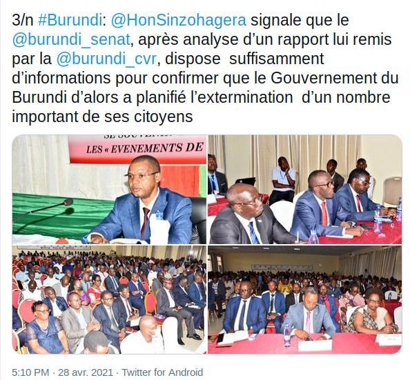 GENOCIDE CONTRE LES HUTU DU BURUNDI EN 1972 : SENAT - Le gouvernement MICOMBERO a planifié cette extermination